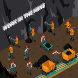 Mijnwerker People Isometric Composition stock illustratie