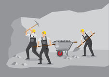 Mijnwerkers die in Ondergrondse Mijn Vectorillustratie werken Stock Afbeelding