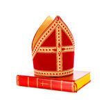 Mijter and book of sinterklaas Stock Photography