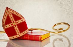 Mijter and staff of sinterklaas royalty free stock images