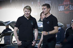 Mika Hakkinen and David Coulthard with Mercedes SL. Famous F1 stars in Brescia for the Mille Miglia historical race Stock Photo