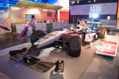 Mika Hakkinens 1999 Crashed MP4/14 West McLaren Mercedes Formula 1 car. Exhibited in the Museum of Science in London.Londons Science Museum is located in South Royalty Free Stock Image