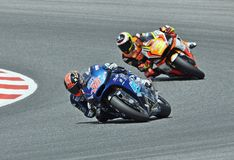 Mika Kallio and Simone Corsi in the circuit of Catalonia Royalty Free Stock Photography