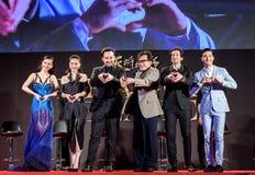 Mika Wang, Lin Peng, John Cusack, Jackie Chan, Adrien Brody y Choi Siwon en Dragon Blade Premiere Imágenes de archivo libres de regalías