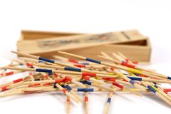 Mikado. Short stick in front of the box Stock Photography