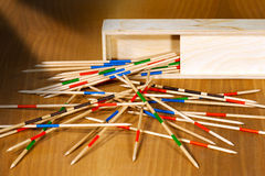 Mikado - Wooden Sticks and Box Royalty Free Stock Images