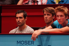 Mikael Tillstrom (Coach of Gael Monfils) and Gaetan Olivier (physio of Gael Monfils) Royalty Free Stock Images
