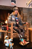 Mikaela Shiffrin answers questions from the media during a press conference after the Killington Cup royalty free stock images