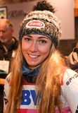 Mikaela Shiffrin answers questions from the media during a press conference after the Killington Cup stock images