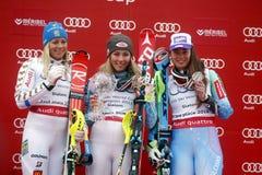 Mikaela Shiffrin ,  Frida Hansdotter and Veronika Velez Zuzulov 2015 World Cup in Meribel Stock Image