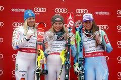 Mikaela Shiffrin ,  Frida Hansdotter and Veronika Velez Zuzulov 2015 World Cup in Meribel Royalty Free Stock Images