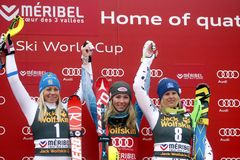 Mikaela Shiffrin ,  Frida Hansdotter and Veronika Velez Zuzulov 2015 World Cup in Meribel Royalty Free Stock Photo