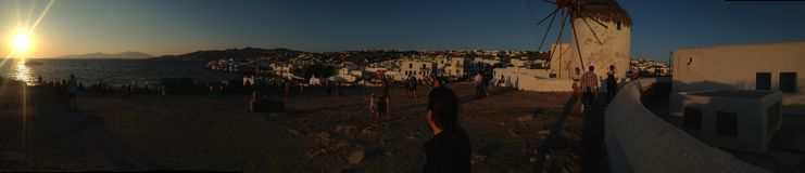 Mikanos. Sunset Greece  holiday summer windmill Stock Image