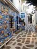 Mikanos. Sunset Greece  holiday summer windmill street pictures Stock Photography