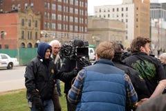 Mike Clattenburg verweist Wohnwagensiedlungs-Jungenfilm Stockfotos