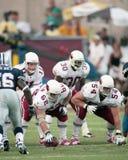 Mike Devlin #62 och Aaron Graham #54 av Arizona Cardinals Fotografering för Bildbyråer