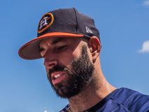 Mike Fiers 2017 Houston Astros. March 26, 2017 - West Palm Beach, Florida : Pitcher Mike Fiers of Houston Astros signs autographs during practice of Spring stock image