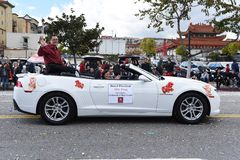 Mike Fong LA Community College District President rides in the Los Angeles Chinese New Year Parade royalty free stock images