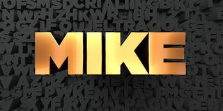 Mike - Gold text on black background - 3D rendered royalty free stock picture Royalty Free Stock Photography