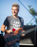 Mike Gordon From the Band Phish. Mike Gordon, Bass player for the jam band Phish with a rose onstage before their first show of the Summer tour in Bend, Oregon Royalty Free Stock Photo