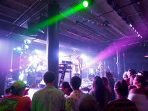 Mike Love Band plays music indoors. Honolulu - August 16, 2018: Mike Love Band plays music indoors with cool lighting at Crossroads at Hawaiian Brians in stock photos