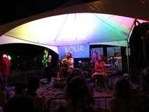 Mike Love con la banda en la noche en etapa en Hallowbaloo Fotos de archivo libres de regalías