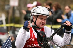 Mike  Minard races a wheelchair Royalty Free Stock Photo