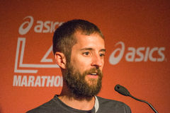 Mike Morgan  , american marathon runner attends a press conferen Royalty Free Stock Images
