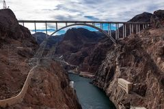Mike O`Callaghan–Pat Tillman Memorial Bridge, the bridge on the Hoover Dam at the border between Nevada and Arizona royalty free stock images