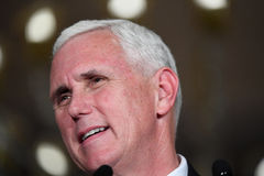 Mike Pence Rally for Trump. Chesterfield, MO, USA – September 06, 2016: Republican vice presidential candidate, Indiana Governor Mike Pence speaks to Stock Image