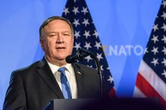 Mike Pompeo, Secretary of State. 12.07.2018. BRUSSELS, BELGIUM. Press conference of Donald Trump, President of United States of America, during NATO North stock photos