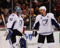 Mike Smith en Mathias Ohlund, Tampa Bay Lightning Royalty-vrije Stock Foto's