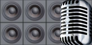 Mike&Speakers. Professional Mike Against Speakers (Design Element Royalty Free Stock Image