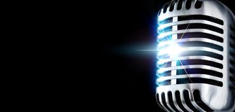The Mike In Spotlight. Shiny Vintage Microphone In Spotlight (Design Element Stock Image