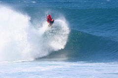 Mike Stewart Launches out of the Wave Stock Photo