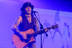 Mike tramp. White lion vocalist Mike Tramp appeared to entertain fans at a hotel in the city of Solo, Central Java, Indonesia Stock Images