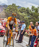 Mikel攀登Alpe D'Huez的Astarloza 库存图片