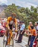 Mikel Astarloza die Alpe d'Huez beklimmen Stock Afbeelding