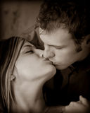 Mikel and Chris 2. A romantic couple portrait sepia Royalty Free Stock Image