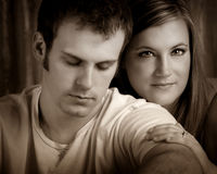 Mikel and Chris. A romantic couple portrait sepia Stock Photos