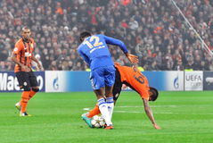 Mikel and Teixeira fighting for the ball Stock Images