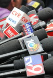 Mikes of Different Media channels, India Stock Image