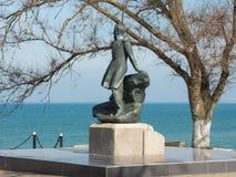 Mikhail Lermontov Monument dans Taman, situé sur le rivage de la mer d'Azov Photographie stock libre de droits