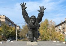 Mikhail Panikakha monument in Volgograd, Russia. Volgograd, Russia. Monument to Mikhail Panikakha, the Hero of the Soviet Union. It was unveiled on May 8, 1975 Royalty Free Stock Photo
