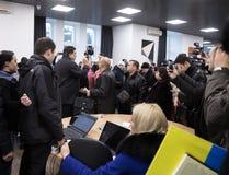 Mikhail Saakashvili auf Anweisung für Presse Lizenzfreie Stockfotos
