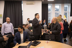 Mikhail Saakashvili auf Anweisung für Presse Stockbild