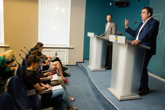 Mikhail Saakashvili. KIEV, UKRAINE - Jun 23, 2015: Chairman of the Odessa Regional State Administration Mikhail Saakashvili during a meeting with journalists stock photo