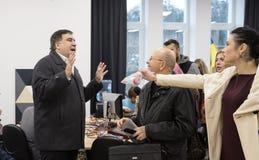 Mikhail Saakashvili på förhandsmöte för press Arkivbild