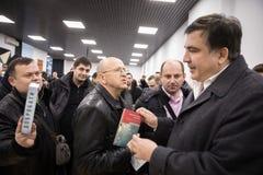 Mikhail Saakashvili på förhandsmöte för press Arkivfoton