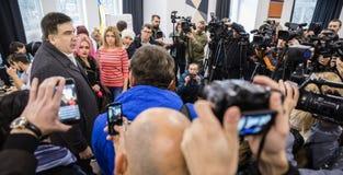 Mikhail Saakashvili på förhandsmöte för press Arkivfoto